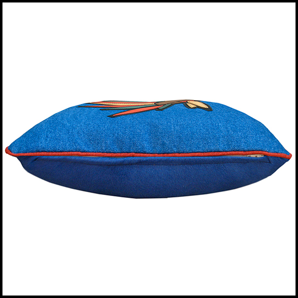 coussin coiffe indienne cuir denim