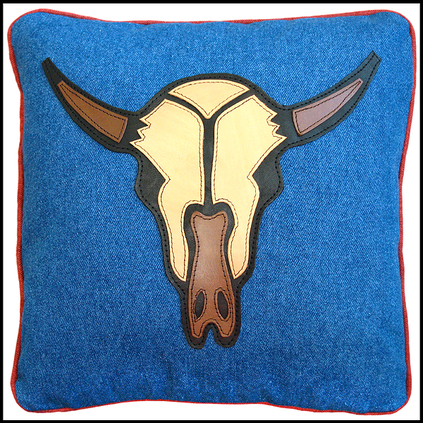 coussin crane bison cuir denim