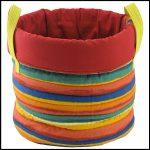 panier rangement rayures multicolores