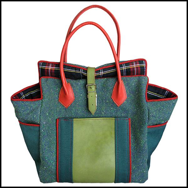 sac cabas british écossais tweed cuir